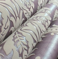 3D Thick Light Purple Velvet Flocking  Wallpaper Classic Damask Background'wall paper flocked