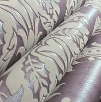 3D Thick Light Purple Velvet Flocking  Wallpaper Classic Damask Background'wall paper flocked