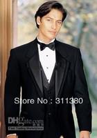 2014 Hign Quality New Design Custom-made Black Groom Tuxedos Best man Suit Wedding Groomsman/Men Suits sold by happyshop2828