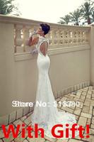 With Gift !!! Free Shipping!!2014 Newest Wonderful Sexy Spaghetti Strap Sweetheart Ivory Lace Open Back Mermaid Wedding Dress