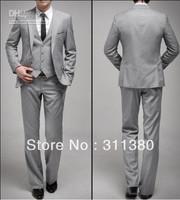 Custom Made Groom Tuxedos Light Grey One Button Peak Lapel Best man Groomsman Men Wedding/Prom Suits (Jacket+Pants+Tie+Ves