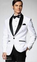 Top selling White Jacket With Black Satin Lapel Groom Tuxedos Groomsmen Best Man Suit Men Wedding Suits