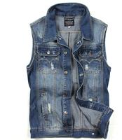 Men's Spring Autumn Sleeveless Outerwear & Coats Men's Denim Vests Cool Casual Jeans Jackets