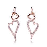 Simple design fashion women jewelry/ zircon heart 18k gold plated earring WL0599
