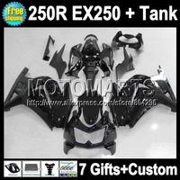 7gifts+Tank gloss blk For Kawasaki 08 09 10 11 12 Ninja  250R 17Q259 EX250 250 all black ZX250R Fairing 2008 2009 2010 2011 2012