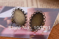 free shipping 18*25mm Oval lace Ring Blanks  Antique Bronze Copper Adjustable , Finger Ring Set