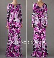 Free Shipping Fashion Women's Back V Charming Print Stretch Jersey Silk Long sleeve Maxi Dress Long Dress,S-XXL