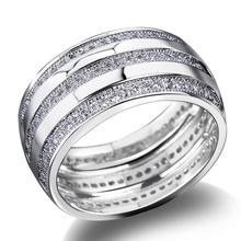 Remarkable 2014 New Fashion Women Elegant Platinum Plated Rings 3 Rolls AAA Machine Cutting Zirconia Marriage Anniversary