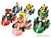 Free shipping, 2014 hot sale NEW Super Mario Bros model 6PCS/SET pull back cars Toys brinquedos PVC Dolls Gifts.