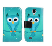 High Quality Lovely Owl Style Flip Wallet Leather Cover Case For Samsung Galaxy S4 i9500 Free Shipping UPS DHL EMS HKPAM CPAM