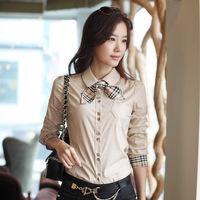 2014 Korean new fashion Spring women plus size long sleeve OL shirt Slim female commuter cotton blouse wirh boa blusas coreano