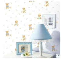 10m*45cm baby Pvc cartoon bear male girl child room wallpaper adhesive wallpaper  home decor