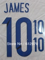 #10 JAMES / #9 FALCAO Colombia Home 2014 Print  Name , World Cup 2014.Star Name sets ,Print by yourself.accept custom name