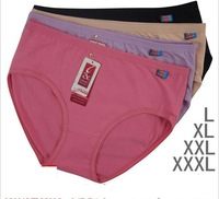 New cotton 3pcs/lot ladies underwear Wholesale size L XL XXL XXXL 4 sizes and 10colors to choose