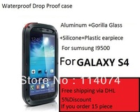 Original Extreme Dirtproof Waterproof Metal Aluminum Case For Galaxy S4 i9500 + Gorilla Glass,1pcs,Free Shipping