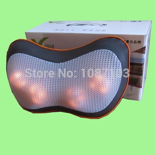 BOK-C6 coffee pu leather four heat plastic balls with DC12V 2A adopter/cigarette lighter to shiatsu neck home/car massage pillow(China (Mainland))