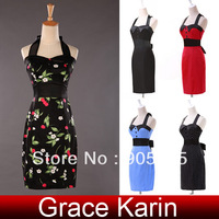 5 Colors! Fast Delivery! Real Grace Karin Vintage Sexy Bandage Halter Cotton Women Evening Dress CL4590