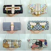 Fashion luxury women's handbag chain designer brand PU small bag one shoulder cross-body wallet mobile phone day clutch