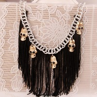 Tassel necklaces 2014 women Skull fake collar necklace Exaggeration big choker necklace warcraft necklace Free shipping