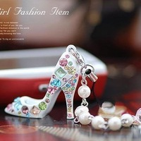 Sakura's Store Free order 1pcs/lot Fashion Style Lovely High Heel Shoes Mobile Chain/Mobile Jewelry white black stock