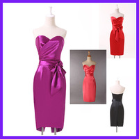 Free Shipping 1pc/lot Grace Karin Satin Medium Violet Red Black Short Evening Dress CL4592
