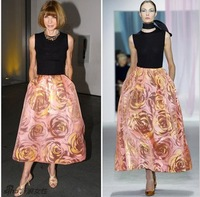 2014 new spring women's fashion sleeveless long maxi patchwork dress rose print formal dress full dresses