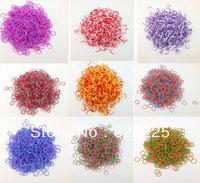 15pack/lot Wholesale Loom Kit colorful Rubber Loom Bands Kit Refill Pack 600pcs 9 double color Bands+24pcs S-clips gift bracelet