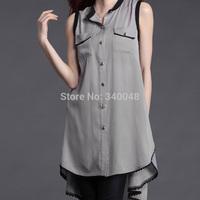 2014 European spring fashion women's irregular chiffon shirt sleeveless long design plus size blouses with pockets floral hem