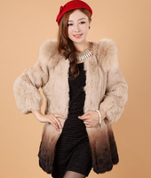 2014 rex rabbit hair color gradient rabbit fur medium-long fox fur coat