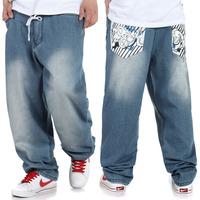 Men's clothing jeans spring and autumn casual hiphop street skateboard pants wide leg jeans plus size plus size fat pants