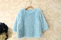 high quality luxury handmade knitted rex rabbit hair three quarter sleeve pullover short design rabbit fur leather