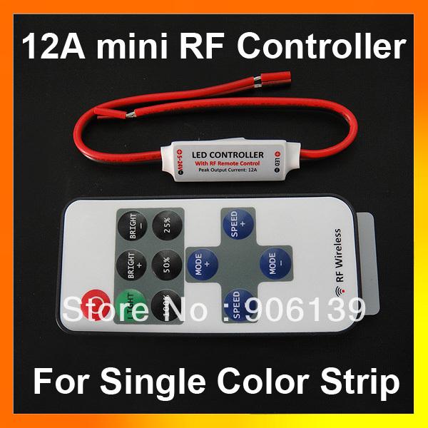 DC 5-24V 12A Wireless Mini RF single color strip led remote Controller(China (Mainland))