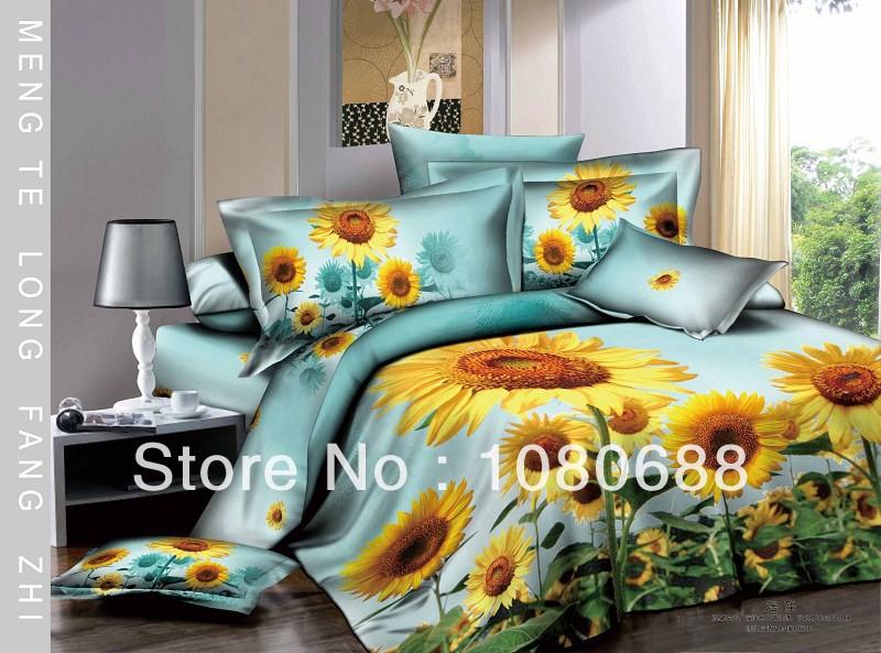 New Beautiful 4PC 100% Cotton Comforter Duvet Doona Cover Sets Full / Queen / King 4pcs bedding set flowers sunflower blue op736(China (Mainland))