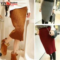 Bust skirt slim hip skirt autumn and winter short  skirt vintage fashion high waist twist
