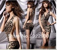 Women Ladies Sexy backless Dress miniskirt Sexy Lingerie Leopard T-back Clubwear Night Club skirt uniform Temptation Free Ship