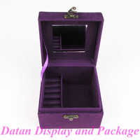 Wholesale High Quality Purple Velvet Bracelet Necklace Earring Ring Jewellery Collection Box Case Cosmetic Box