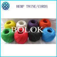 free shipping 12 kinds waxed and colored hemp cord (6pcs/lot) hemp twine cord100m/ball used in all kinds packing