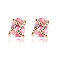 Cubic Zircon Stud Earrings Fashion 2014 Free Shipping  CZ Diamond Accessories Charm Jewelry For Women  Bijoux