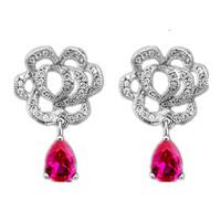 2014 Spring Ultra Fine Hollow Out Roses Red Zircon Earrings Wedding Jewelry Water Droplets Luxury Corundum Earrings