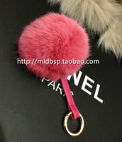 Large rabbit fur ball car keychain key ring candy color quality bag hangings     Fashion heavy hair ball