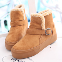 Platform snow boots winter boots thermal cotton-padded shoes solid color flat boots elevator