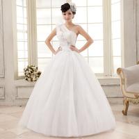 2014 Newest Arrival Sweet Princess One Shoulder Flower Bandage Wedding Dress Free Shipping