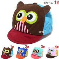 2014 Spring Baby Visors Hats Infant Owl Design Patchwork Visors Caps Kids Accessories Free Shipping 5 PCS