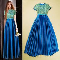 Free shipping 2014 gorgeous Bling crochet elegant expansion bottom short sleeve evening/banquet floor length Long Maxi dress