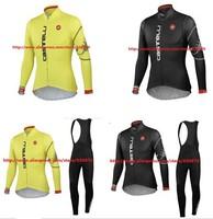 sports wear! 2014 Castelli Winter Thermal Fleece Cycling Jersey Long Sleeve and bicicleta bib Pants/ ciclismo 3 colour triathlon