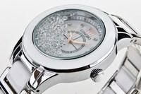 Hot Sale!Free shipping Longbo Gold Plated watch Ceramic Style 3A Rhinestone Women Gift Dress Watches,Sport Watch.