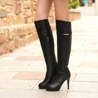 Fashionable casual platform high-heeled long boots first layer of cowhide high-heeled knee-length boots
