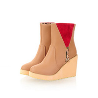 Thickening side zipper wedge boots fashion platform ultra high heels boots plus size