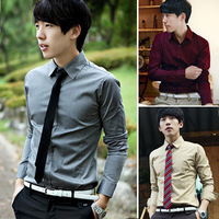 Trend men's clothing 2013 autumn long-sleeve slim casual shirt cotton white 100% male shirt