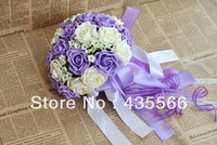 Wedding Favors Purple Wedding Bridesmaid Bouquet Sweetheart Roses Artifical Silk Flower Bride Holding Flowers
